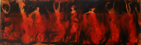 oil on canvas<br>100 x 40